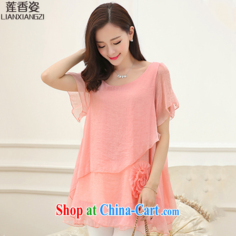 Chou Lien-hsiang Chi 2015 summer new Korean version, long, loose the code graphics thin candy-colored short-sleeved larger women 17 DM pink XL