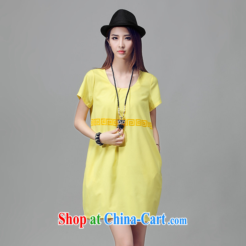 Crown Platinum thick sister summer 2015 new XXXXL female large, short-sleeved minimalist dresses thick MM plus fat XL Yellow XXL