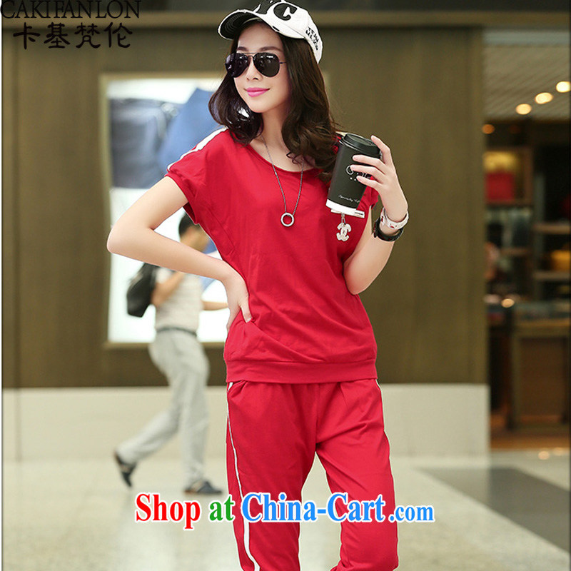 The base Van Gogh, the code sets summer 20,015 new European site small fragrant winds code sweater thick MM loose short-sleeved Sport Kit female 260 red XL