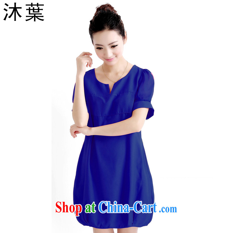Mu leaf summer 2015 new thick MM thick sister dresses girls won and indeed XL snow woven dresses girls 858 blue XXXXL