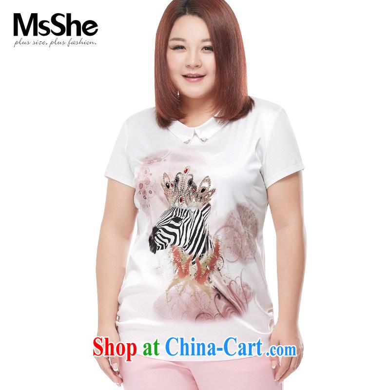 MSSHE XL girls T-shirts 2015 new summer, generation, cotton zebra round-collar stamp T-shirt 4092 white 2XL