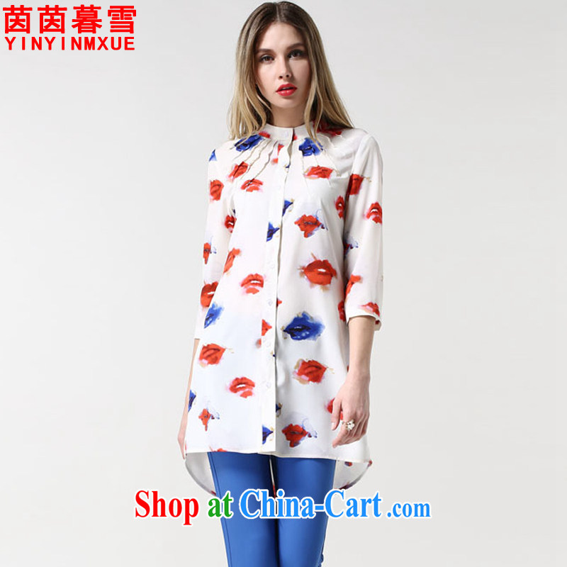 Yan Yan and snow summer 2015 new larger women mm thick lips, stamp duty for 7 T-shirt girl CS 9032 white 5 XL
