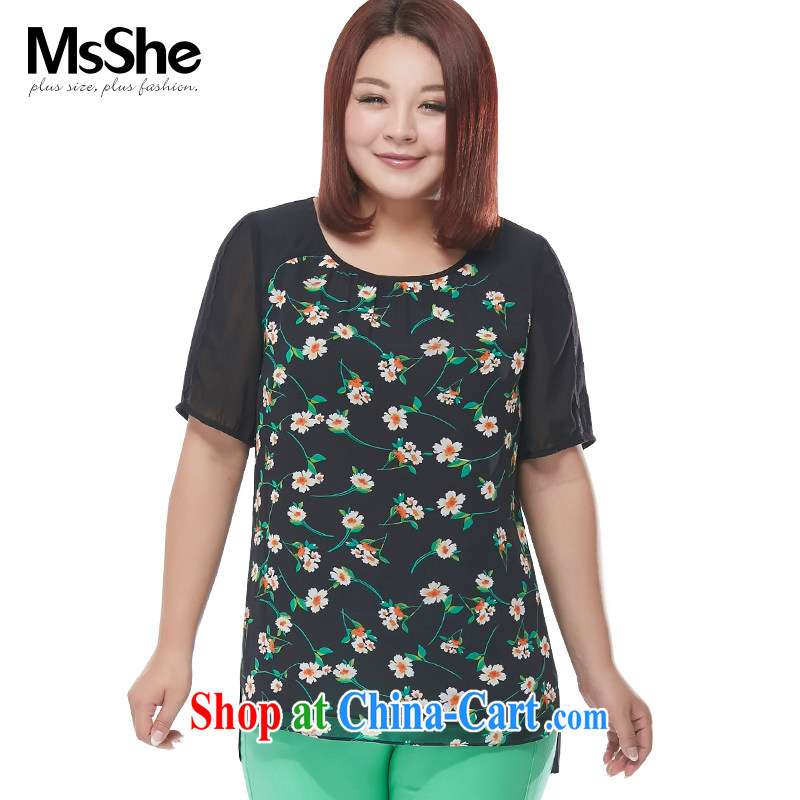 MSSHE XL female snow woven shirts 2015 new summer short-sleeved T-shirt is not stamp duty rules snow woven shirts 4518 black 3 stamp duty XL