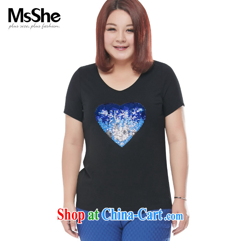 MSSHE XL girls T-shirts 2015 new summer, Mostar, cotton V collar short-sleeve T-shirts pre-sale 4526 black 5 XL - pre-sale on 30 June to the
