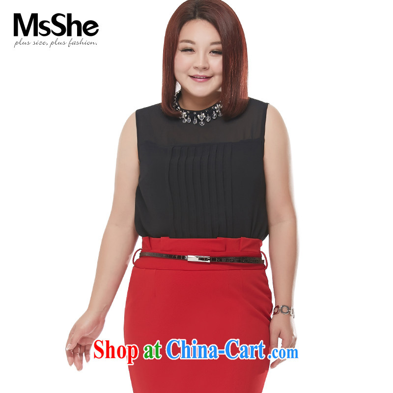 MSSHE XL ladies' 2015 new summer elegant name Yuan, staples for Pearl sleeveless ice woven shirts 4610 black 3 XL