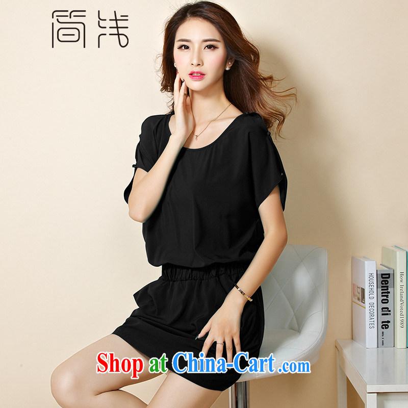 In short light 2015 summer new women with larger female bat sleeves-waist dress short-sleeved snow woven dresses 1209 black XXXL