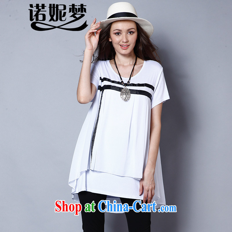 Connie's dream in Europe and America, the female summer is the increased emphasis on mm long loose short-sleeve T-shirt women T-shirt J 119 white XXXXXL