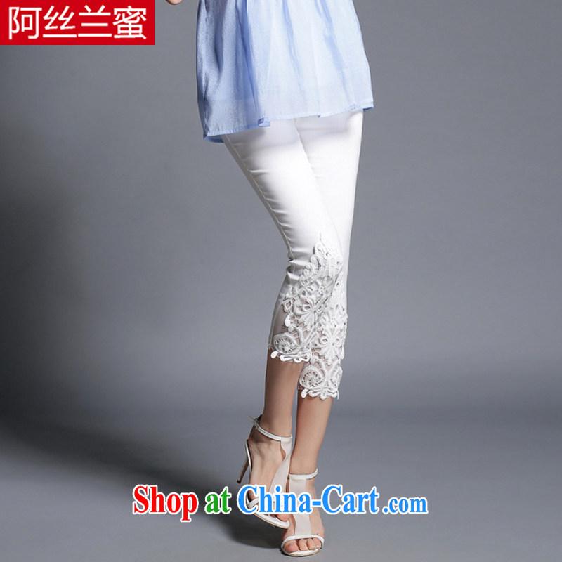 The silk, honey XL girls thick MM graphics thin 2015 summer drilling iron lace-hook spent stitching beauty lounge 7 pants ZZ 1901 white 5 XL (181 jack - 200 Jack through)