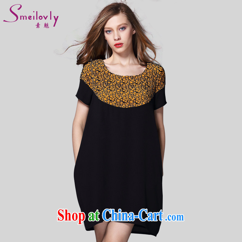 Director of European and American new 200 jack and indeed increase, female summer mm thick short-sleeved dress 2040 black large code 5 200 XL about Jack