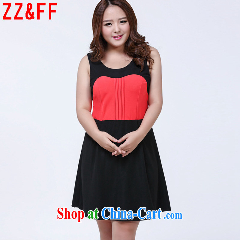 ZZ _FF summer 2015 new larger female sleeveless spell color beauty dresses female LYQ 1009 Map Color XXXXL