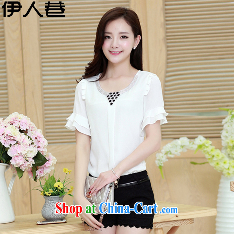 The people lane 2015 summer new Korean version loose video thin stitching horn cuff round-collar short-sleeve large code female snow woven shirts women 8023 white XXL