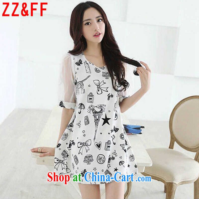 ZZ _FF summer 2015 new larger women cuff in cultivating dresses female LYQ 9119 white XXXXL