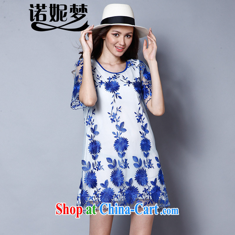Connie's dream 2015 new Europe and North America, the ladies summer is the increased emphasis on MM elegant embroidered loose video thin short-sleeved dresses J 8123 blue XXXXL