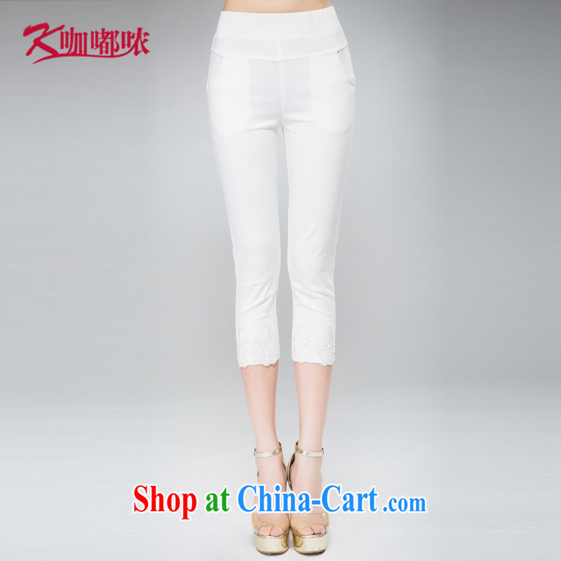 Coffee murmured the Code women 2015 summer new thick MM increase the fat 100 ground lace pant legs video thin 7 pants white XXXL