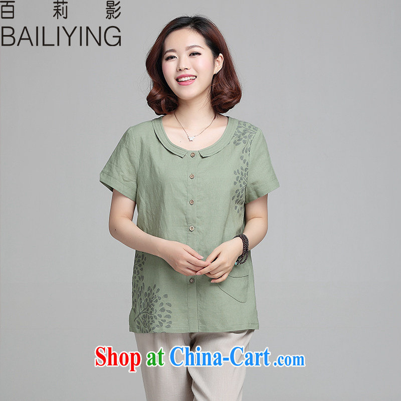 100 Li film 2015 summer new, cotton the breathable short sleeve shirt T female and indeed XL thick MM graphics thin larger Middle-aged women have begun green 3 XL