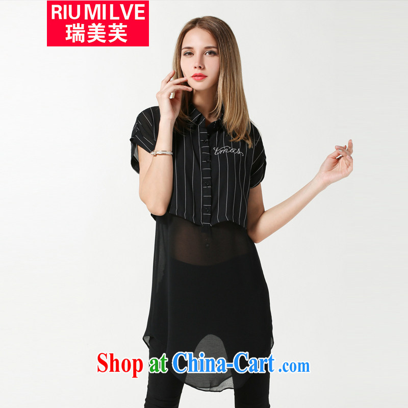 Ryan and the United States concluded the Code women summer 2015 new thick mm loose video thin stripes stitching short-sleeved snow woven shirts, long leave of two T-shirt 3633 black XXXL