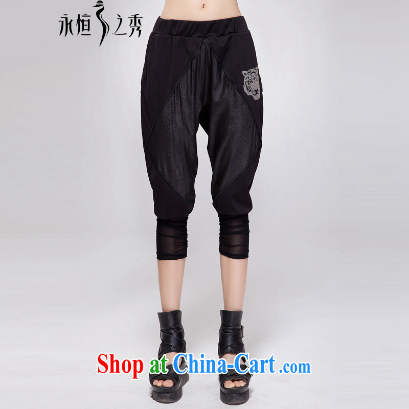 Eternal show 2015 the Code women mm thick summer new Europe back in graphics thin, trouser press 7 pants pants in black 4 XL