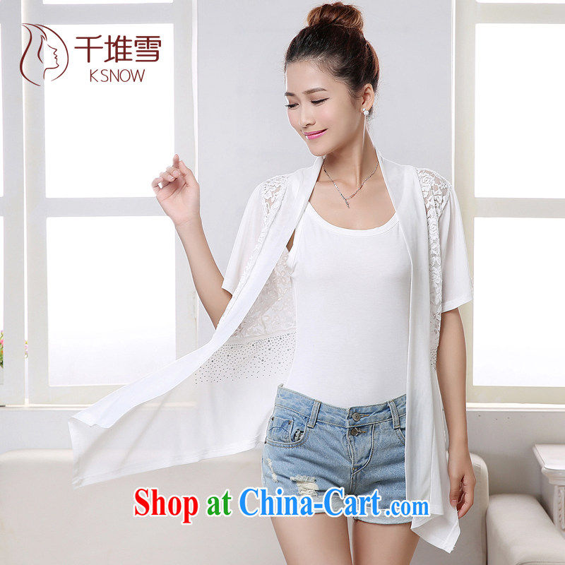 1000 a snow 2015 New Code women's clothing summer short-sleeved lace T-shirt girl, long shawl small jacket girls Summer set cardigan summer air-conditioning T-shirt Solid Color sunscreen clothing female white L