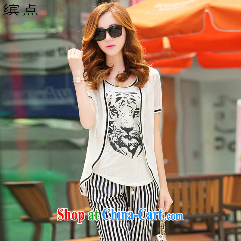 As point summer 2015 new larger female short-sleeve snow woven shirts, graphics thin 7 pants 3-piece set D 7099 white XXL