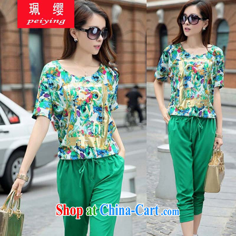 Elizabeth Quat volunteered the fat XL girls thick mm summer short-sleeve T-shirt 200 Jack thick sister Korean version 7 pants leisure suite 8031 JW D E 135 large green code 2 XL 140 - 160 jack