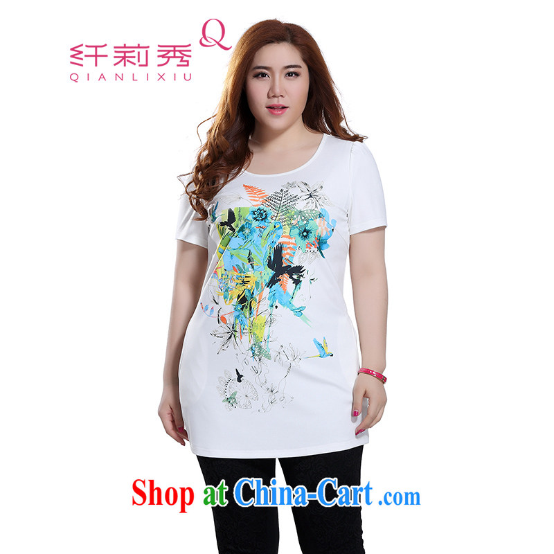Slim Li-su 2015 summer new, larger female fashion round collar flower stamp duty short-sleeved A before long, T pension minimalist long T pension Q 7592 M white 5 XL