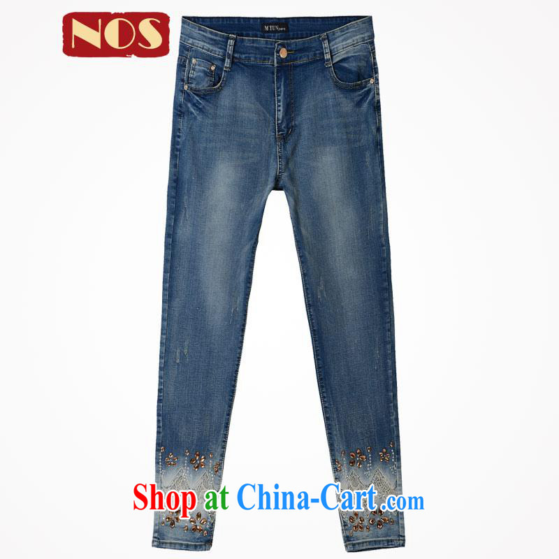 Cultivating NOS graphics thin fashion, high-waist 100 ground castor embroidery jeans pants large code female M 25,291 blue 42 code