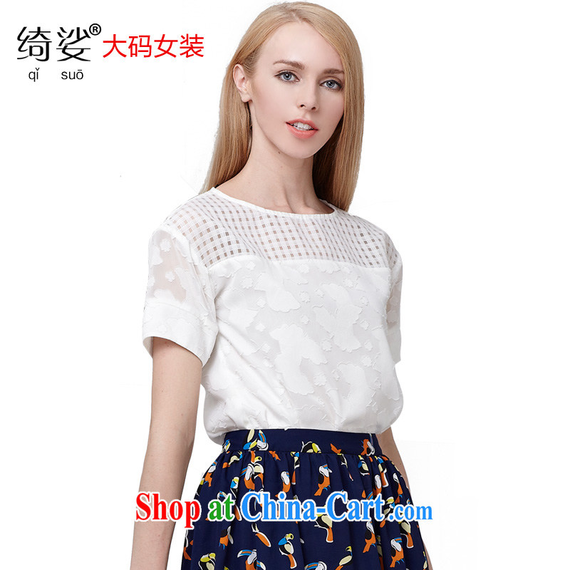 Most of the 2015 code is female thick MM summer new sweet solid-colored patterned jacquard thick sister graphics thin T pension 2791 white 3XL