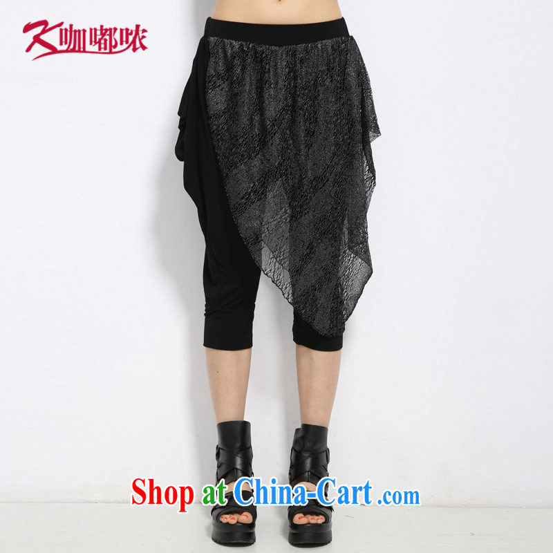 Coffee murmured the Code women 2015 summer new thick MM increase the fat loose lace graphics thin 7 pants black XXXXL