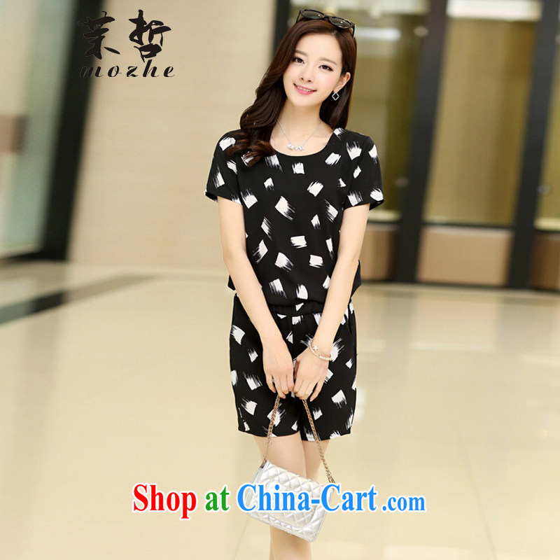 Energy-chul is the girl with the FAT increase summer Plaid Shorts Kit mm thick beauty graphics thin leisure package female white-on-black rendering the code 5 XL