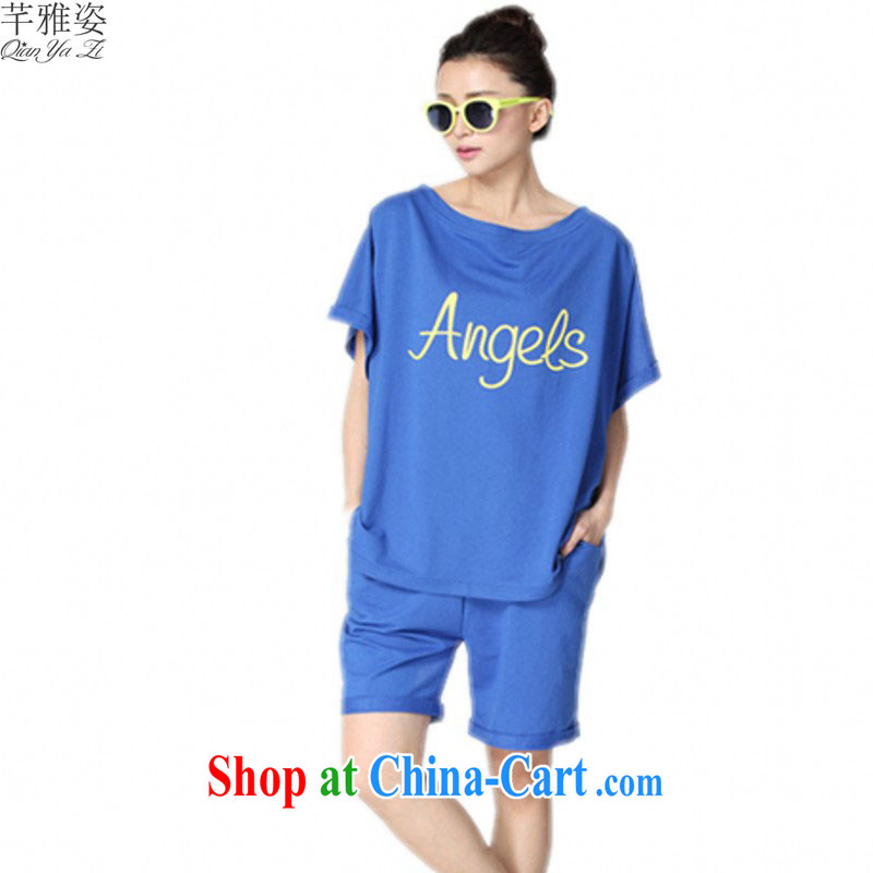 The fat increase, female large sweater letter Stamp field for loose Two Piece Set with casual wear new short-sleeve T-shirt short-sleeved the blue 4 XL approximately 150 - 170 jack