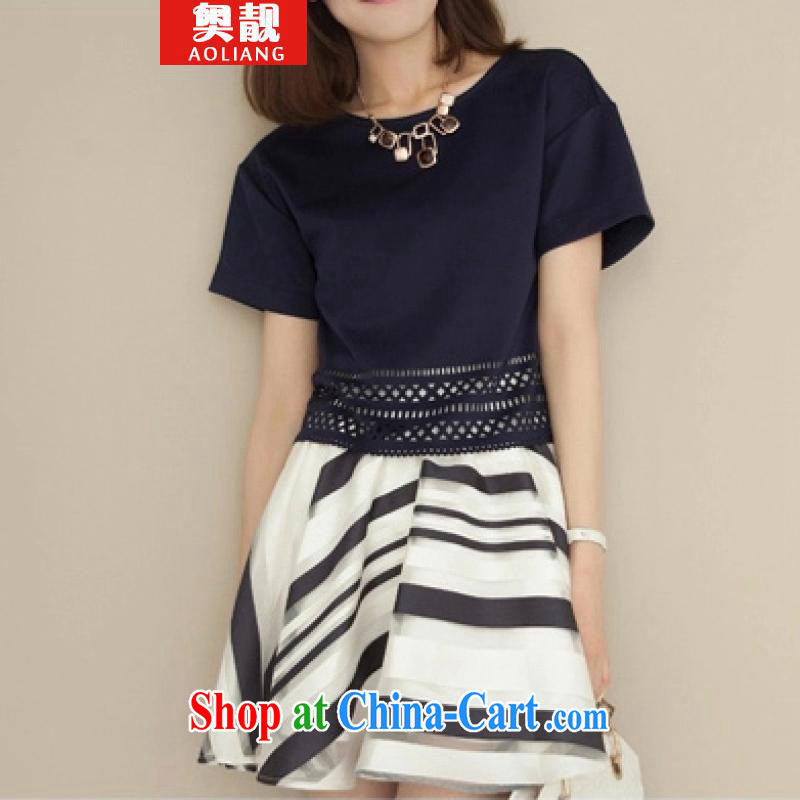Mr. beautiful spring and summer dresses XL dress Korean short-sleeved thick sister two-piece Jack large white code XXXL