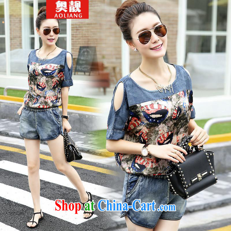 Mr. beautiful stylish package girls summer Korean Version Stamp snow T woven shirts denim shorts two piece nozzle-shaped pattern M