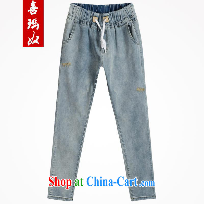 Hi Princess slave 2015 summer New MM thick Elastic waist, high-waist graphics thin 100 ground castor jeans pants large code female M 15,309 blue 42 code