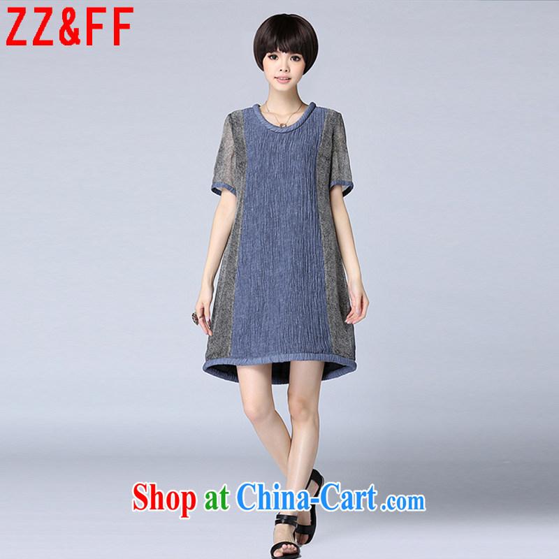 ZZ _FF 2015 summer new linen stripes stitching loose the Code women dress girls summer 7027 LYQ blue XXXXXL