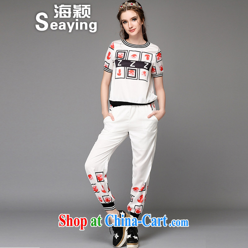 Sea-ying 2015 summer maximum code female Two-piece knocked color Elastic waist 9 pants letter stamp T pension Leisure package female A 731 white L