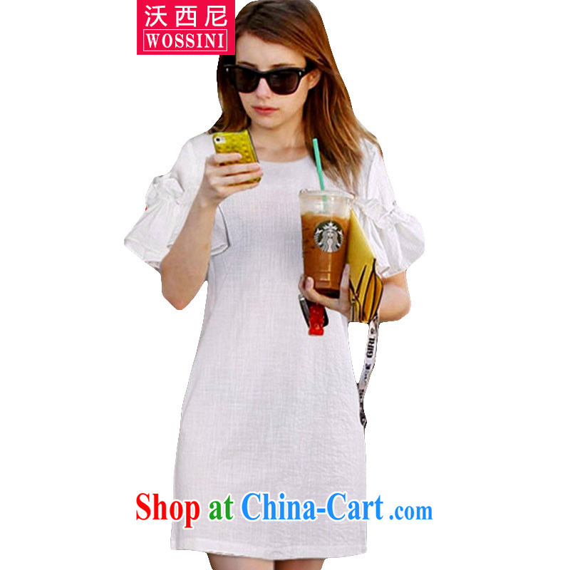Kosovo, 2015 summer new Europe and indeed the XL female thick mm 3 D spent three-dimensional flouncing breathable short-sleeved dresses 1824 light blue XXXXXL