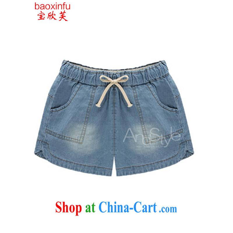 Baoxinfu summer 2015 European site larger thick MM summer relaxed jeans hot pants Women's Code 6118 light blue XL