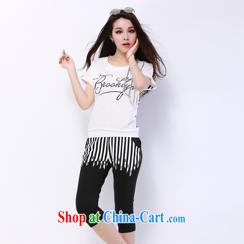 2015 new stylish cotton stamp sport and leisure package girls summer 7 pants relaxed thick sister larger thick mm short sleeve loose video thin trousers two piece black XXXL