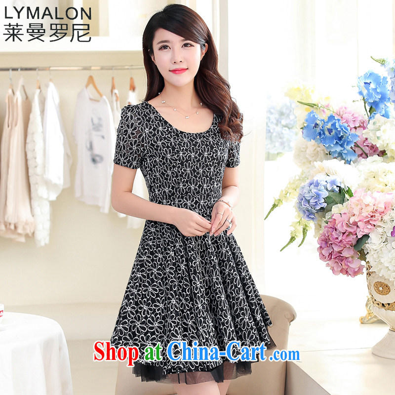 Lehman Ronnie lymalon 2015 summer new Korean version of the greater number female and FAT and FAT mm round-collar lace dress 1572 black 4XL