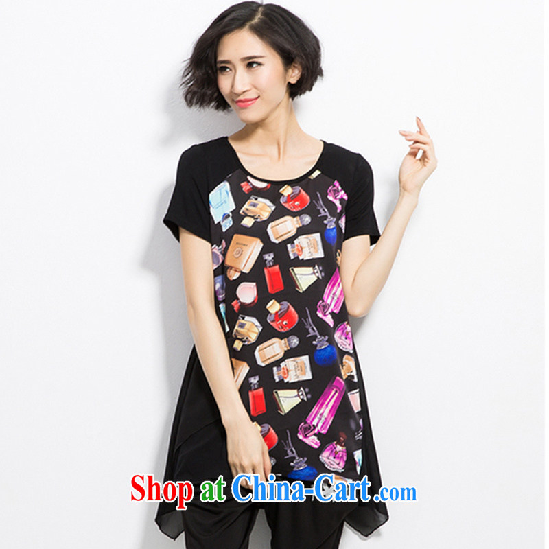 2015 XL female Korean version, long, snow-woven dresses thick MM the fat video XL summer new short-sleeved and indeed intensify dresses 200 Jack Black XXXL