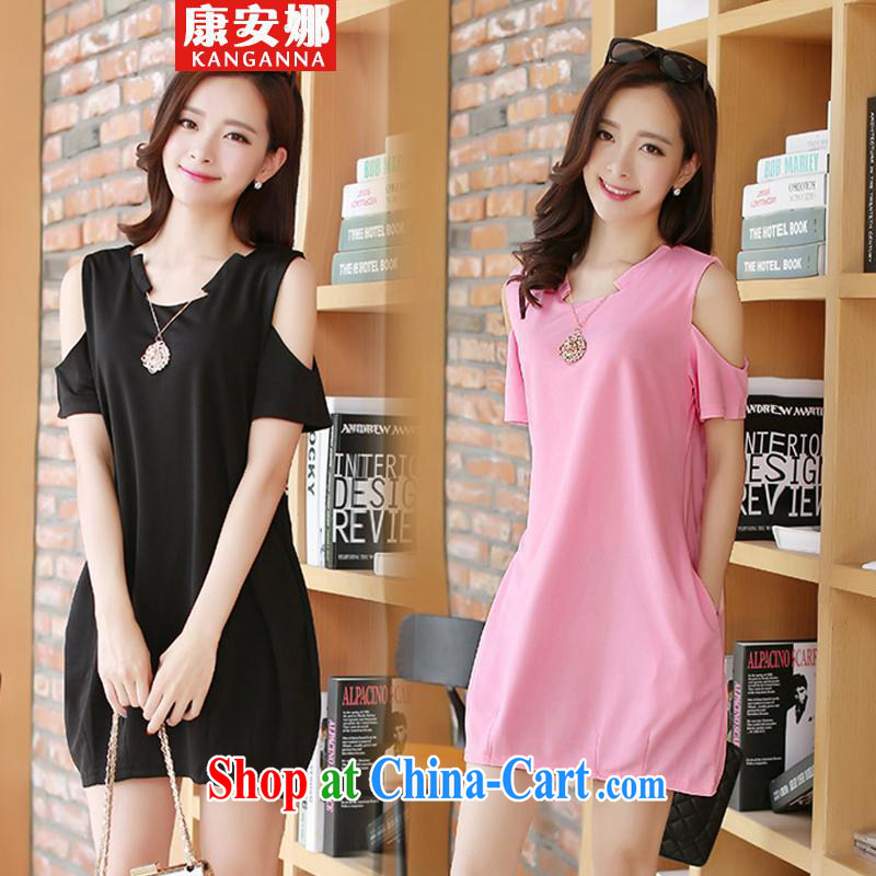 Anna and mm thick King and indeed XL female summer Jack thick sister dresses video thin short-sleeved T-shirt female black 1XL _120 Jack to Jack 140 _