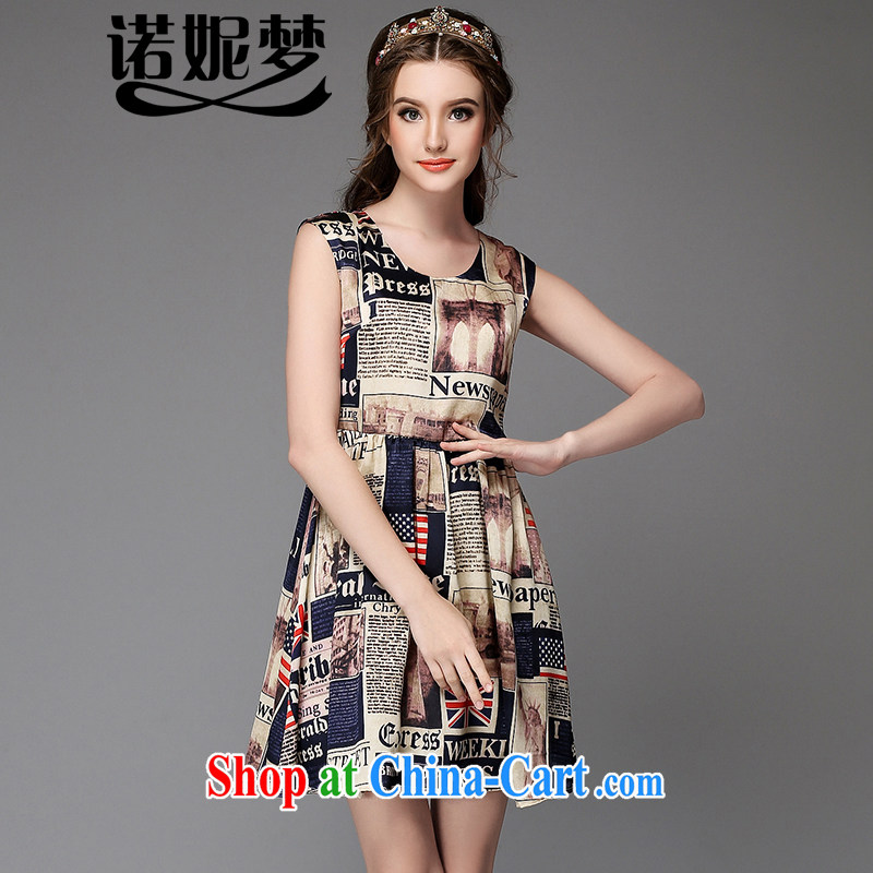 Connie's dream 2015 new high-end European and American large code female summer is the increased emphasis on MM stylish flag stamp graphics thin sleeveless dresses G suit 737 5 XL