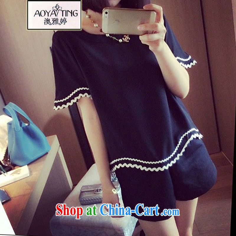 o Ya-ting 2015 New, and indeed increase, female fat mm video thin Korean short-sleeved shirt T female shorts Kit black two-piece 4 XL recommends that you 160 - 180 jack
