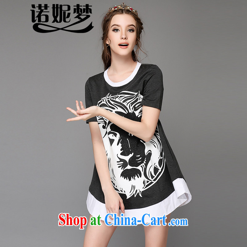The Connie was a high-end European and American large code female summer and indeed increase 2015 new thick mm Fine hot drill Lions Head stamp dresses G 759 gray 5 XL