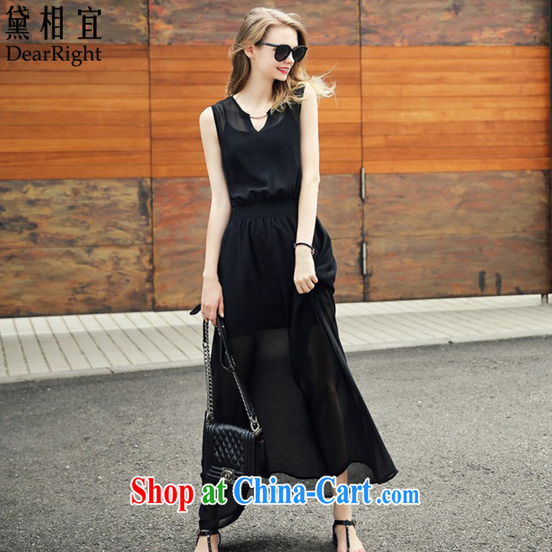 Diane affordable 2015 European site summer new Snow woven dresses girls thick sister MM black sleeveless style beauty video slim skirt beach skirt black 5 XL _175 - 215 _ jack