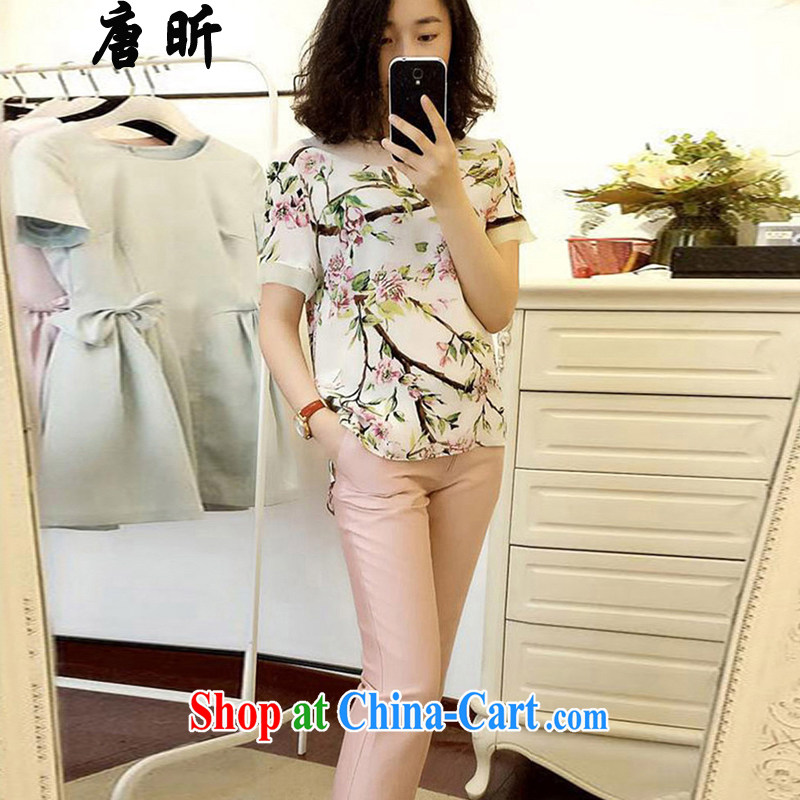Tang year new summer silk stamp duty two-piece large code female liberal T shirt + 7 pants Map Color 1787 XL 2 135 - 145 Jack left and right