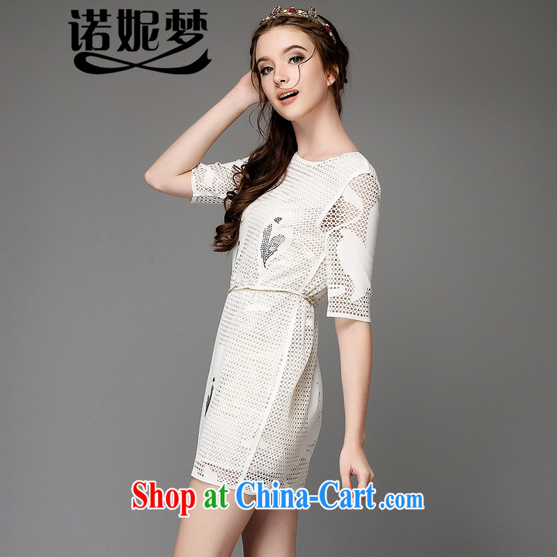 The Connie was a high-end European and American large code female summer and indeed increase 2015 new fat burning mm spent ironing drill mesh graphics thin dress with belt G 755 white 5 XL