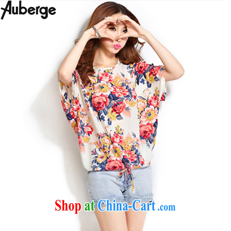 Auberge Jack 200 mm thick summer wear the code female Korean loose video thin short-sleeved shirt T overweight T-shirt bat sleeves snow woven shirts female fancy XL