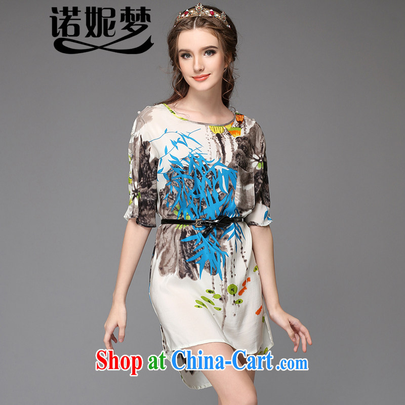 The Connie was a high-end European and American large Code women summer 2015 with new, mm thick aura water and ink the stamp duty in the cuff silk dresses with belts G 739 fancy XXL