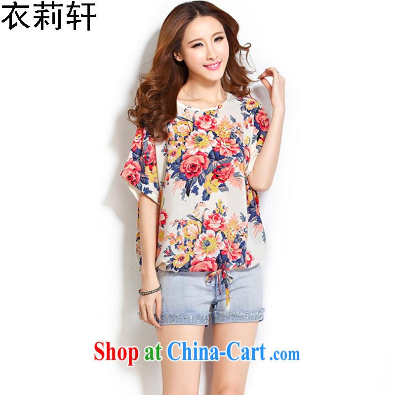 Yi Li Xuan 200 Jack mm thick summer wear the code Female European version loose short-sleeved shirt T overweight children T-shirt bat T-shirt girls summer 2015 new suit 4 XL